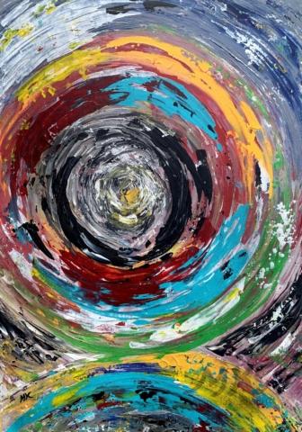 Hypno, autor Marcela Kozáková, akrylová malba, rozměry 40x70, plátno artist canvas 100% cotton.