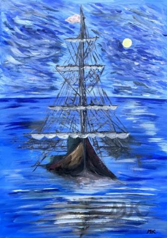 Klid na moři, autor Marcela Kozáková, akrylová malba, rozměry 40x70, plátno artist canvas 100% cotton.