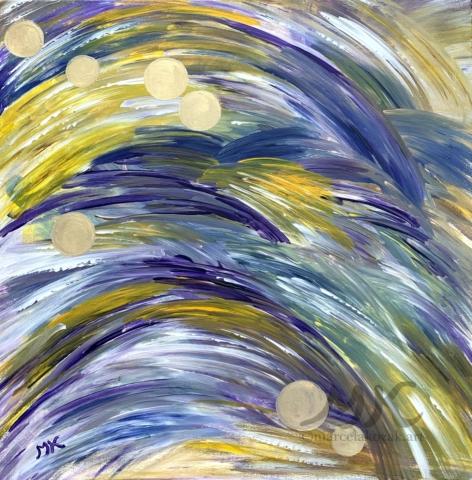 Perly, autor Marcela Kozáková, akrylová malba, rozměry 50x50, plátno artist canvas 100% cotton.