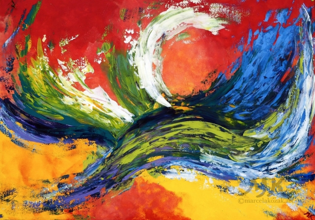 Létavec, autor Marcela Kozáková, akrylová malba, velký obraz, rozměry 120x90, plátno artist canvas 100% cotton.