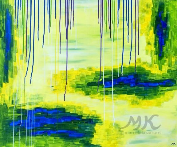 Akrylová malba, rozměry 120x100, velký obraz, autor Marcela Kozáková, plátno artist canvas 100% cotton.