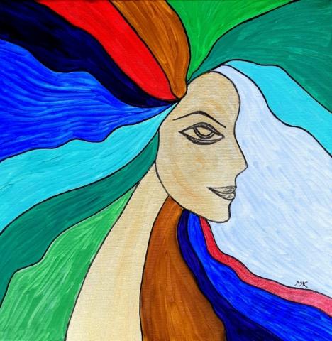 Akrylová malba, autor Marcela Kozáková, akrylová malba, rozměry 40x40, plátno Leinwand Canvas 100% cotton - wood from well managed forests.