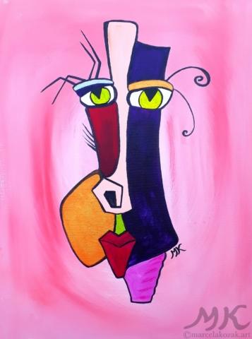 Maska 5, autor Marcela Kozáková, akrylová malba, rozměry 30x40, plátno artist canvas 100% cotton.