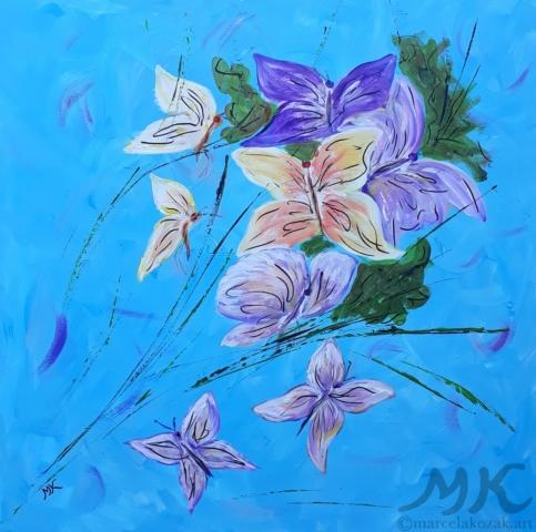 Motýlci, autor Marcela Kozáková, akrylová malba, rozměry 50x50, plátno artist canvas 100% cotton.