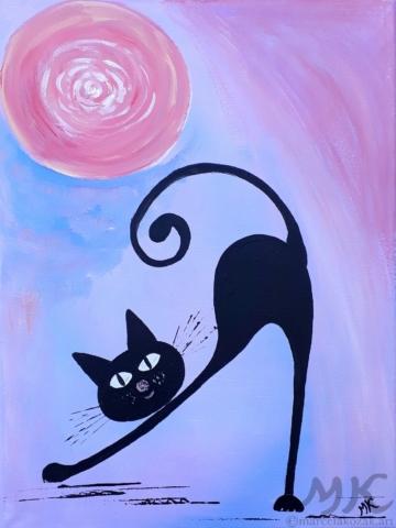 Líná kočka, autor Marcela Kozáková, akrylová malba, rozměry 30x40, plátno artist canvas 100% cotton.