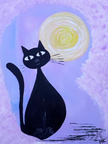 Pohodová kočka, autor Marcela Kozáková, akrylová malba, rozměry 30x40, plátno artist canvas 100% cotton.