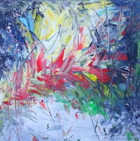 Exotika, autor Marcela Kozáková, akrylová malba, rozměry 50x50, plátno artist canvas 100% cotton.