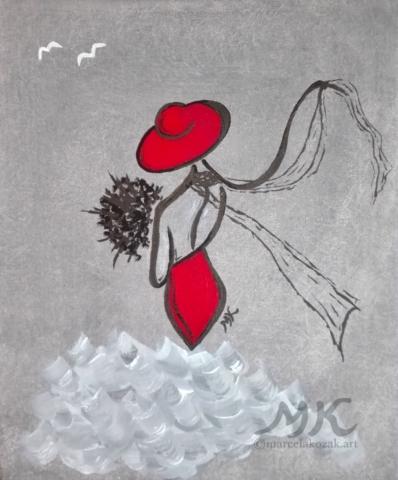 Zamilovaná, autor Marcela Kozáková, akrylová malba, rozměry 25x30, plátno Leinwand Canvas 100% cotton - wood from well managed forests.