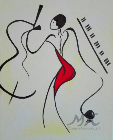 Jazz, autor Marcela Kozáková, akrylová malba, rozměry 25x30, plátno Leinwand Canvas 100% cotton - wood from well managed forests.