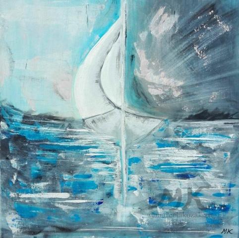 Na oceánu, autor Marcela Kozáková, akrylová malba, rozměry 40x40, plátno artist canvas 100% cotton.