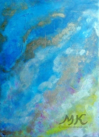 Země, autor Marcela Kozáková, akrylová malba, rozměry 50x70, plátno Leinwand Canvas 100% cotton - wood from well managed forests.