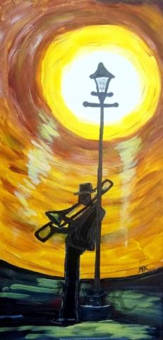 Noční Trombonista, autor Marcela Kozáková, akrylová malba, rozměry 30x60, plátno artist canvas 100% cotton.