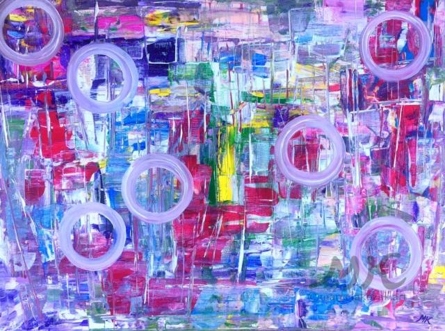 Bubliny, autor Marcela Kozáková, akrylová malba, rozměry 80x100, plátno Leinwand Canvas 100% cotton - wood from well managed forests.