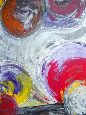 Do hlubin rozpoložení, autor Marcela Kozáková, akrylová malba, velký obraz, rozměry 90x120, plátno artist canvas 100% cotton.
