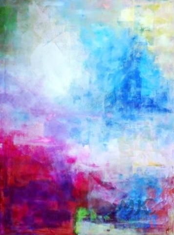 Město v oparu, autor Marcela Kozáková, akrylová malba, velký obraz, rozměry 90x120, plátno artist canvas 100% cotton.