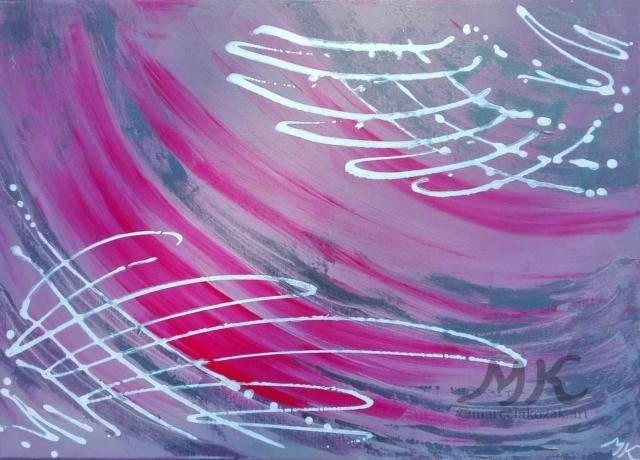 Křídla, autor Marcela Kozáková, akrylová malba, rozměry 70x50, plátno Leinwand Canvas 100% cotton - wood from well managed forests.