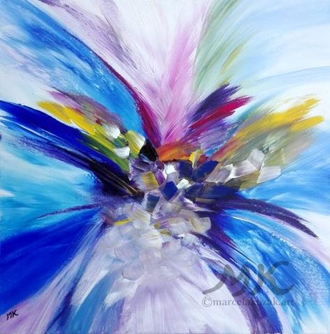 Květ, autor Marcela Kozáková, akrylová malba, rozměry 50x50, plátno artist canvas 100% cotton.