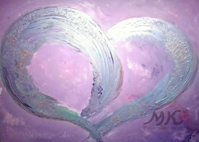 Láska, autor Marcela Kozáková, akrylová malba, rozměry 70x50, plátno artist canvas 100% cotton.