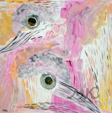 Hnízdění, autor Marcela Kozáková, akrylová malba, rozměry 40x40, plátno artist canvas 100% cotton.