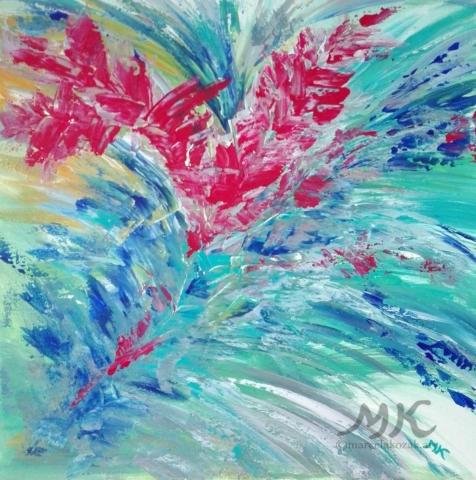 Červená křídla volnosti, autor Marcela Kozáková, akrylová malba, rozměry 50x50, plátno artist canvas 100% cotton.