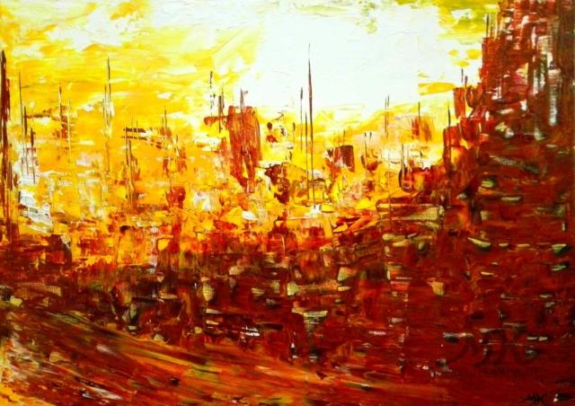 Slunce v přístavu, autor Marcela Kozáková, akrylová malba, rozměry 70x40, plátno artist canvas 100% cotton.