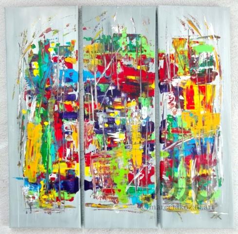 Spektrum, autor Marcela Kozáková, akrylová malba, rozměry 3x 20x60, plátno artist canvas 100% cotton.