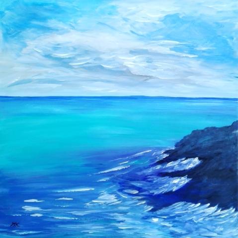 Horizont, autor Marcela Kozáková, akrylová malba, rozměry 40x40, plátno artist canvas 100% cotton.