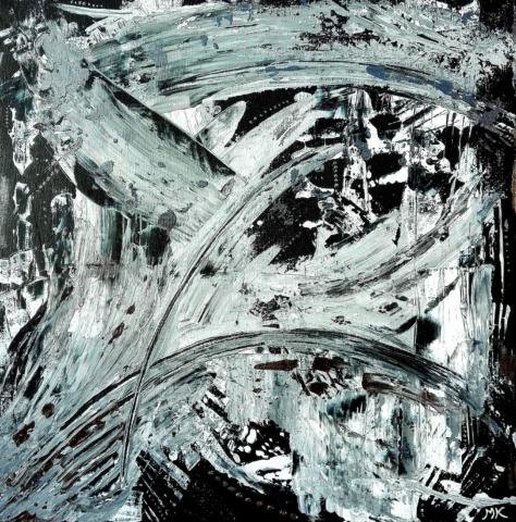 Černý a bílý, autor Marcela Kozáková, akrylová malba, rozměry 50x50, plátno artist canvas 100% cotton.