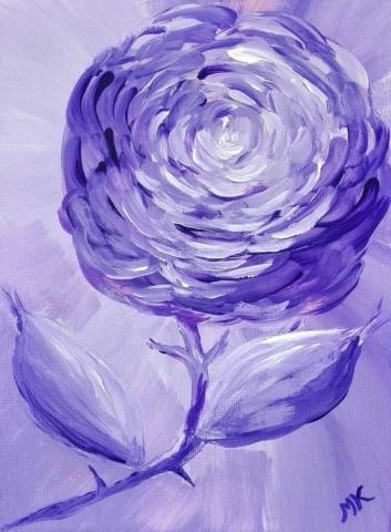 Růže, autor Marcela Kozáková, akrylová malba, rozměry 30x40, plátno artist canvas 100% cotton.