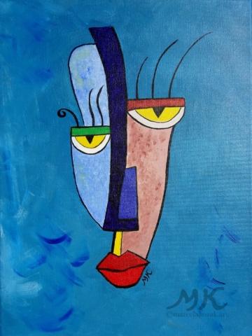 Maska 2, autor Marcela Kozáková, akrylová malba, rozměry 30x40, střední velikost, plátno artist canvas 100% cotton.