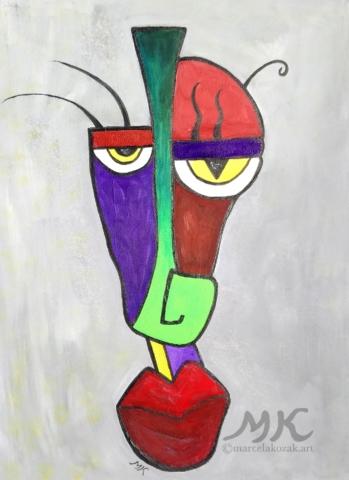 Maska 1, autor Marcela Kozáková, akrylová malba, rozměry 30x40, plátno artist canvas 100% cotton.