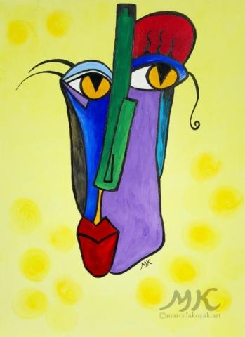 Maska 3, autor Marcela Kozáková, akrylová malba, rozměry 30x40, plátno artist canvas 100% cotton.