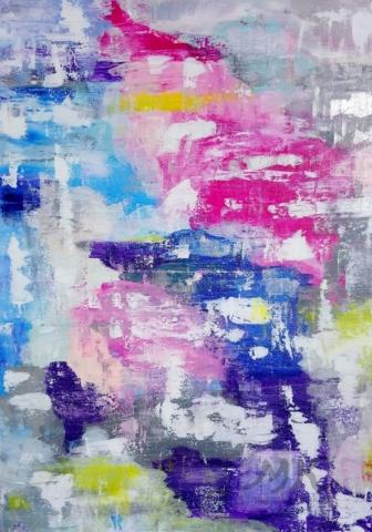 ZAMLUVENO - Abstrakce řeka, autor Marcela Kozáková, akrylová malba, rozměry 40x70, plátno artist canvas 100% cotton.