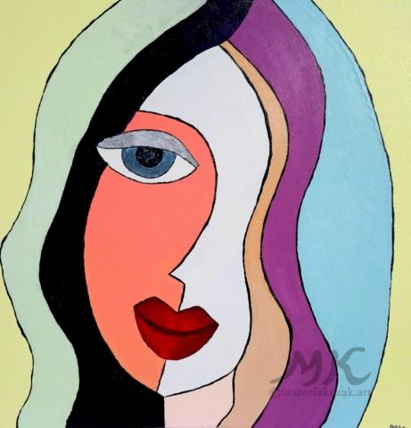 Dívka, autor Marcela Kozáková, akrylová malba, rozměry 50x50, plátno artist canvas 100% cotton.