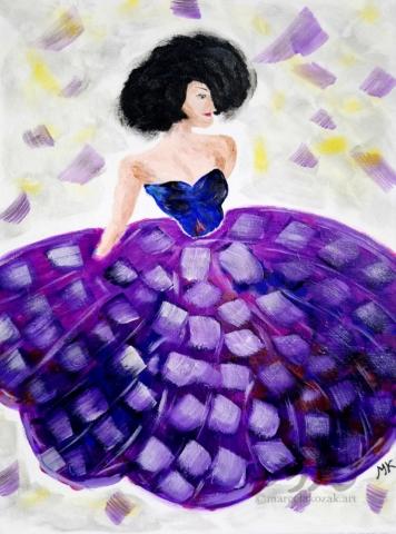 Tanečnice, autor Marcela Kozáková, akrylová malba, rozměry 30x40, plátno artist canvas 100% cotton.