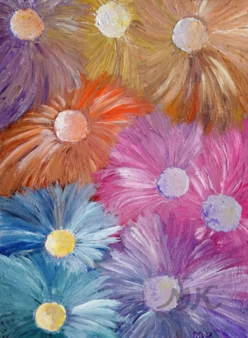 Astry, autor Marcela Kozáková, akrylová malba, rozměry 30x40, plátno artist canvas 100% cotton.