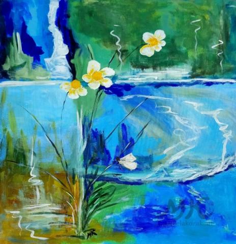 Vodní Svět, autor Marcela Kozáková, akrylová malba, rozměry 50x50, plátno artist canvas 100% cotton.