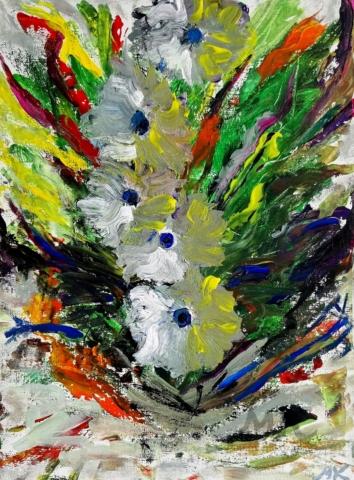 Fantazie květiny, autor Marcela Kozáková, akrylová malba, rozměry 30x40, plátno artist canvas 100% cotton.