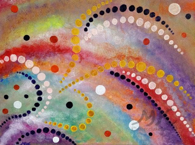 Abstrakce život, autor Marcela Kozáková, akrylová malba, rozměry 30x40, plátno artist canvas 100% cotton.