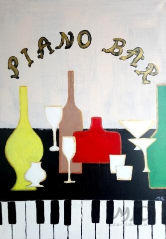 Piano bar, autor Marcela Kozáková, akrylová malba, rozměry 40x70, plátno artist canvas 100% cotton.