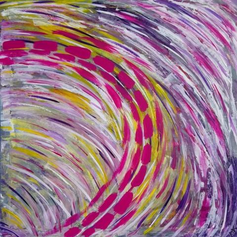 Abstrakce, autor Marcela Kozáková, akrylová malba, rozměry 50x50, plátno artist canvas 100% cotton.