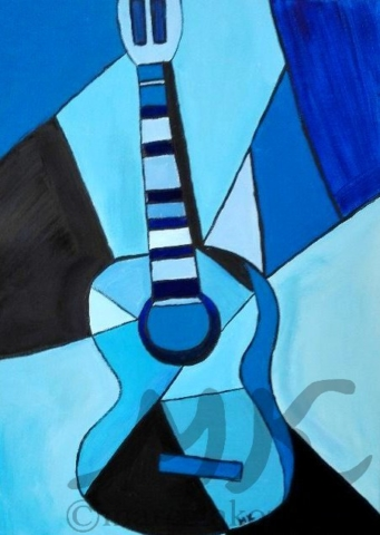 Blues kytara, autor Marcela Kozáková, akrylová malba, rozměry 30x40, plátno artist canvas 100% cotton.