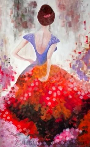 ZAMLUVENO - Svůdná tanečnice, autor Marcela Kozáková, akrylová malba, rozměry 90x140, velký obraz, plátno artist canvas 100% cotton.