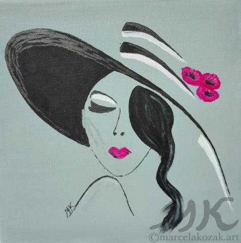 ZAMLUVENO - Nafrněná, autor Marcela Kozáková, akrylová malba, rozměry 20x20, plátno artist canvas 100% cotton.