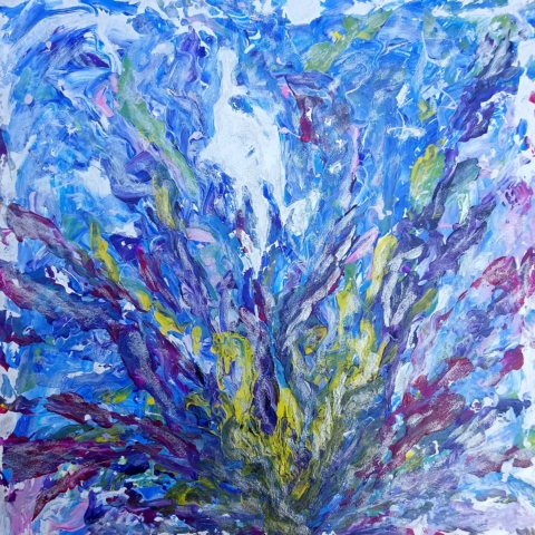 Abstract Flower, autor Marcela Kozáková, akrylová malba, rozměry 50x50, plátno artist canvas 100% cotton.