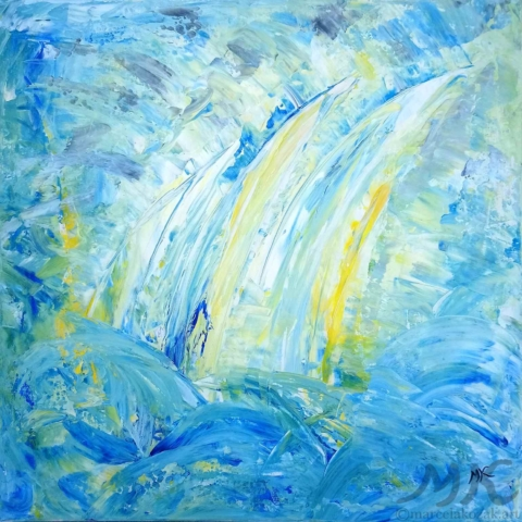 Na moři, autor Marcela Kozáková, akrylová malba, rozměry 50x50, plátno artist canvas 100% cotton.