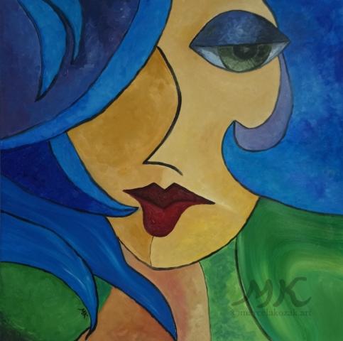 Žena, autor Marcela Kozáková, malba olejem, rozměry 50x50, plátno artist canvas 100% cotton.
