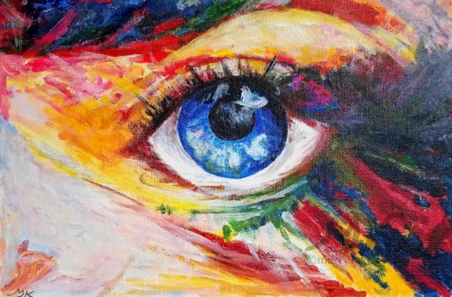 Oko, autor Marcela Kozáková, akrylová malba, rozměry 20x30, plátno artist canvas panel 100% cotton.
