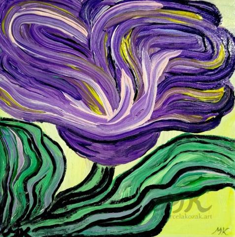 Abstrakce květina, autor Marcela Kozáková, akrylová malba, rozměry 20x20, plátno artist canvas 100% cotton.