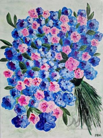 Kytice, autor Marcela Kozáková, akrylová malba, rozměry 30x40, plátno artist canvas 100% cotton.